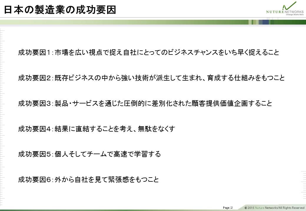日本の製造業の成功要因
